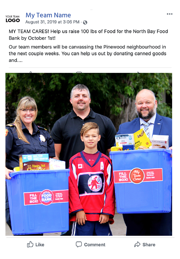My Team Cares North Bay Food Bank Social Share Graphics
