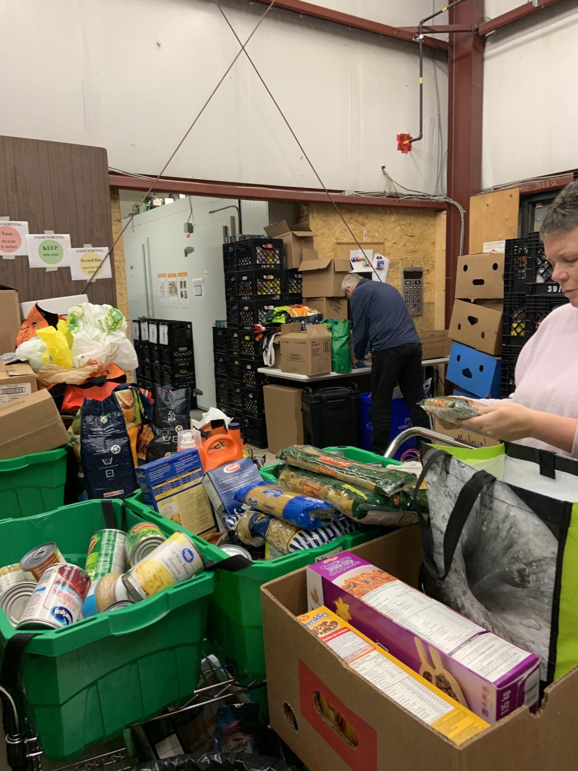 volunteer sort and stock shelves